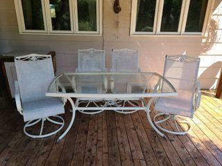 Agio Tan Patio Table 29 x 66 x 38 in with 4 Rocker Chairs