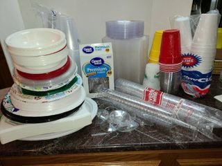 Paper and Plastic Goods  Plates cups silverware and napkins