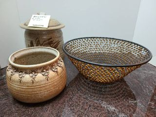 Pottery and a Beaded Bowl
