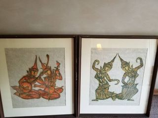 Asian Musicians and Dancers on Parchment paper 28 x 24 set of 2