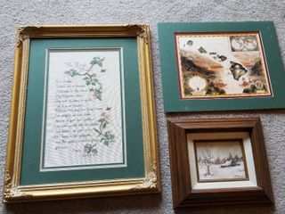 Assorted artwork and needlepoint set of 3