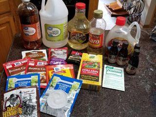 Assorted seasonings  syrup and vinegar