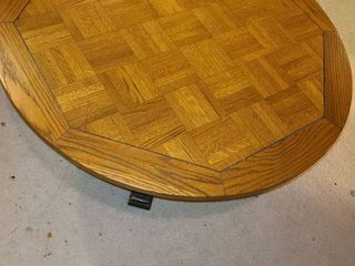 Round Table  18  tall x 41  in diameter  The top is loose  Needs tightened