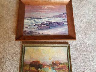 Robert Wood print 21 x 25 and buffalo oil painting 14 x 19
