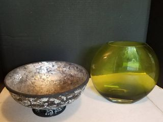 Firefly Home collection glass candleholder bowl and green glass decor