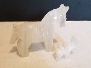 Carved glass horses  3    1