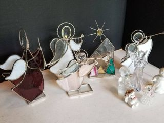 Stained glass Angel s and assorted figurines