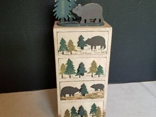 Wooden bear box 13  with 4 drawers