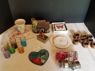 Multi colored shooter glasses  6pc 1 broken  trivets  napkin rings and coasters