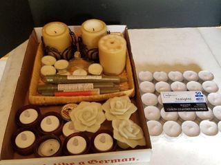 Assorted candles and tealights