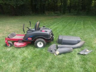 Toro Time Cutter Zero Turn Mower with Attachments and a Gas Can