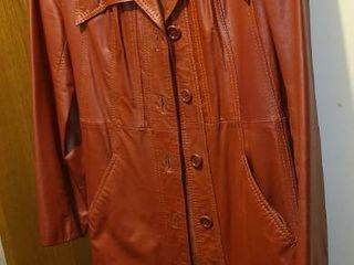 long Brown Womens leather Jacket Size 13 or 14