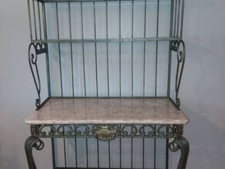 Metal and Stone Bakers Rack 74 x 40 x 20 in