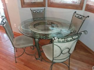 Metal and Stone Round Dining Table 30 x 48 x 48 in with Four Dining Chairs