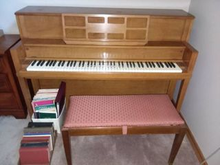 Wood Piano 41 x 58 x 25 in with Wood and Upholstered Piano Bench 18 x 34 x 15 in and Sheet Music