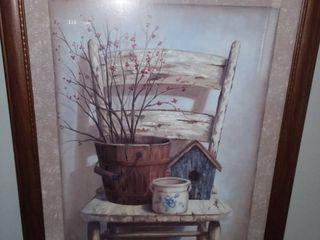 Framed Garden Painting 31 x 26 in