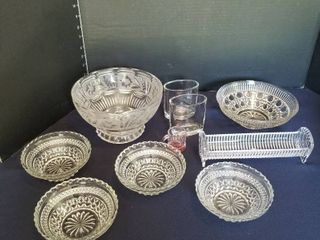 Shannon crystal holder  crystal bowl and assorted glass bowls vases