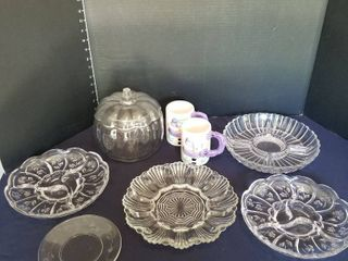 Assorted glass egg and relish trays  mugs and pumpkin