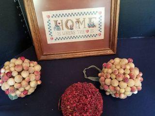 Framed needlework and decorative balls ornaments