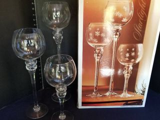 Starlight etched candle holders set of 3