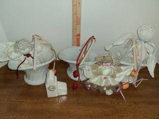 Nic Nac  3 Angels  3 Porcelain Baskets
