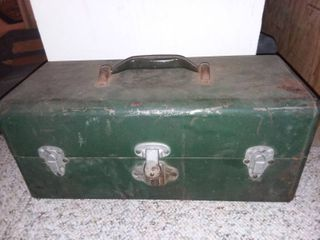 Green Metal Eagle lock Tackle Box with Contents