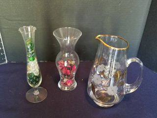 Assorted vases and a pitcher