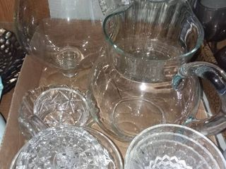 Glass Pitchers and Assorted Glassware
