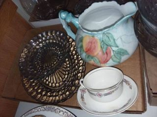 KT   K Teacup and Saucer with Pitcher and Glass Platters