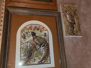 Framed Art  3 pcs   Bird  pictures  Quails and Ducks