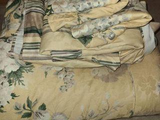 Bedding  Full Sized Comforter  Bed Skirt and 3 Pillow Shams