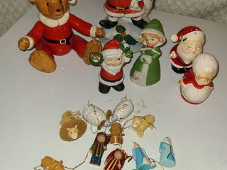 Christmas Decorations  Figurines and Salt and Pepper Shakers  Santa with bell is Music Box