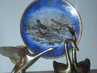 Brass Birds with Decorative Plate