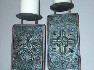 Metal Floral Decorative Candle Holders 15 and 17 in Tall 5 5 in Wide