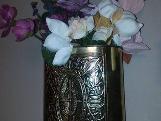 Metal Trash Bin with Faux Flowers