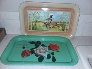 Vintage Moundridge Cooperative Creamery Co Tin Trays Christmas 1953 and 1955 9 x 14 in