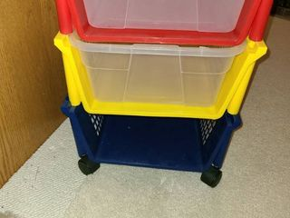 Storage Bin  3 drawer red yellow and blue Missing bottom plastic slide in
