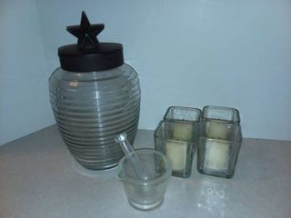 Glass Honey Jar with Glass Pestle and Mortar and 4 Candles