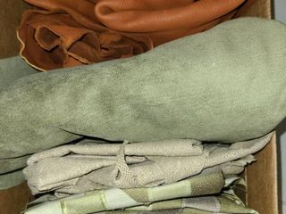 Scrap Material  Various Fabric  Tans Greens Print Maroon