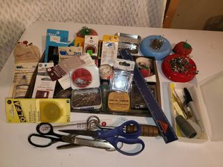 Sewing Supplies  Pins Pins and more pins  Thimbles Scissors and other miscellaneous Items