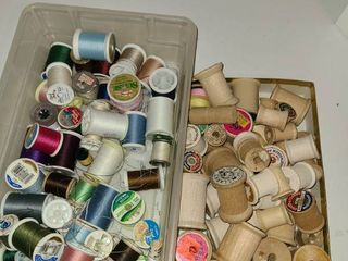 Sewing Items  Thread  Various Colors and a small box of wooden spools
