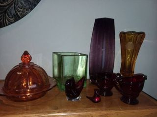 Amber Coin Glass Vase with Assorted Colored Glass Decor
