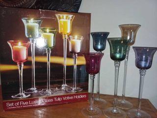 luster Glass Tulip Votive Holders Set of 5