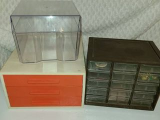 Storage Boxes  1 is 3 drawers  1 is a single box  and the last is a 15 bin compartment storage  With Contents