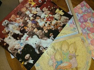 Puzzle Art  Puzzles Glued together  to be hung on wall or framed  And other miscellaneous items