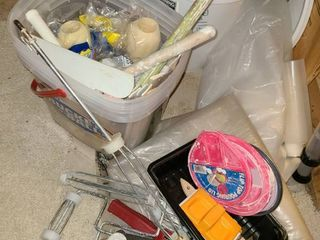 Painting Supplies  Paint pans  rollers  Buckets  scrappers  edgers  and other items