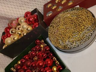 Christmas Decorations  Gold and Red Colored Glass Ornaments and Beads