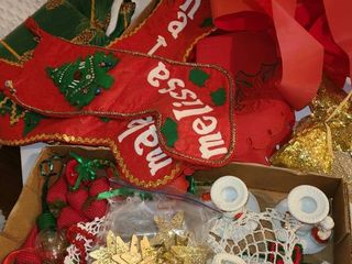 Christmas Decorations  Xmas Stockings  Bows  Table Cloth and Miscellaneous