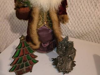 Christmas Decorations  Santa Tree Topper  and 2 Candle Holders