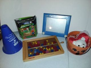 Etch a Sketch and BoobyTrap Games with Various Toys